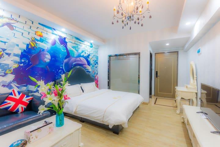 万隆城丽枫同一栋(维帝客公寓)海洋大床房