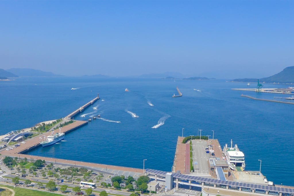 Easy access to the islands, such as Naoshima, Teshima and Shodoshima..  From the apartment to Takamatsu port, it's only 15 minutes by Kotoden (train).