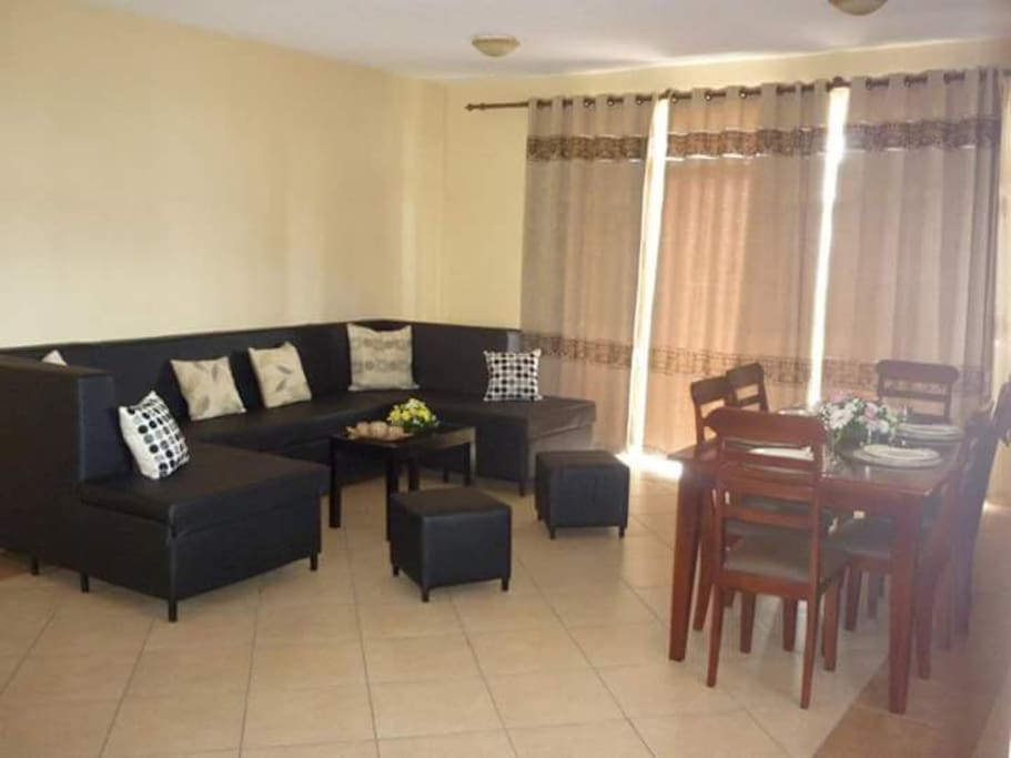 Living room with sofa and dining table