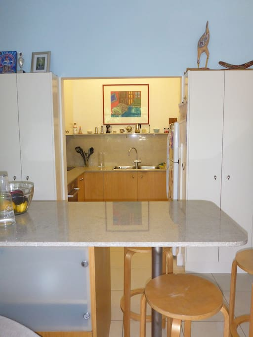 Kitchen with convection oven and microwave and buffet bench