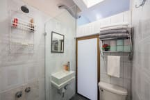 Bathroom with shower clean towels