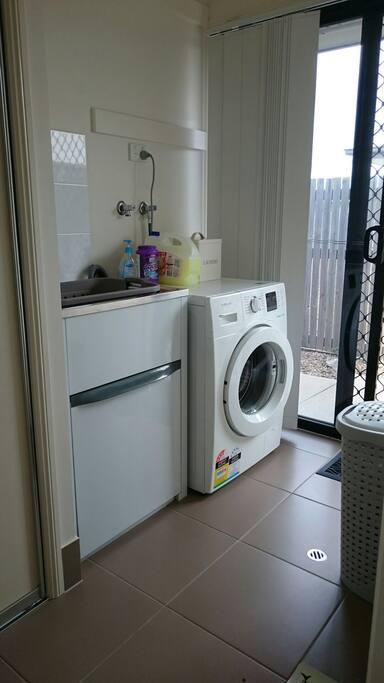 Laundry with washing powder provided