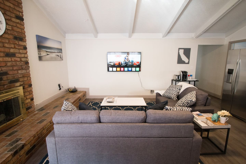 "Living area has 55"" Vizio SmartTv with Chromecast built-in"