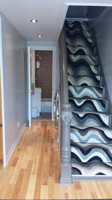 Entrée et escalier d'accès