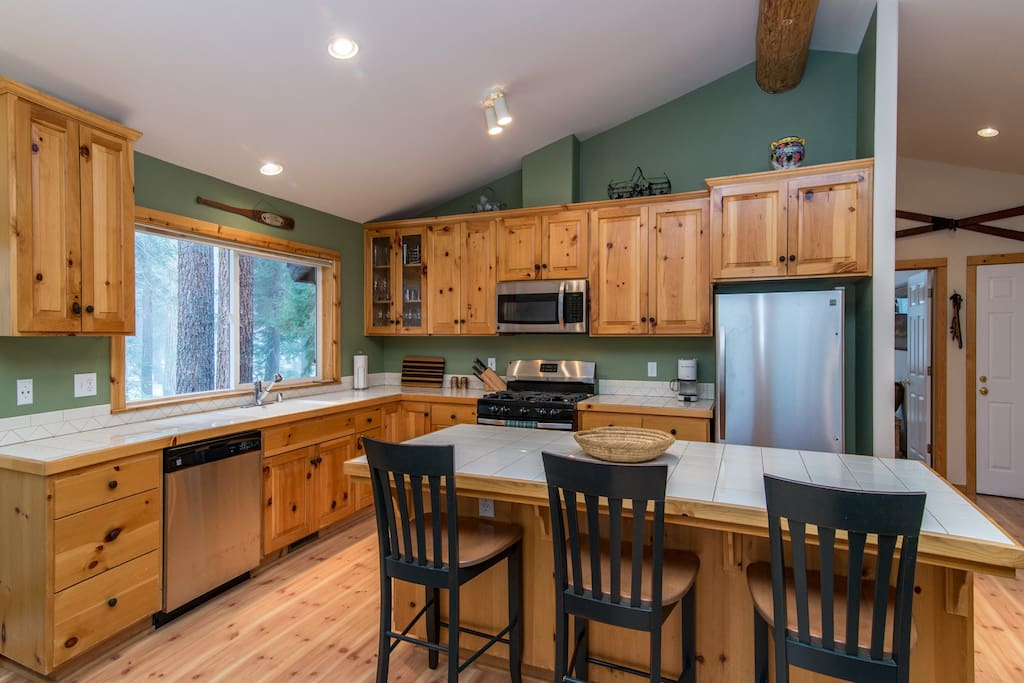 The stylish all-pine kitchen makes an inviting place to cook.