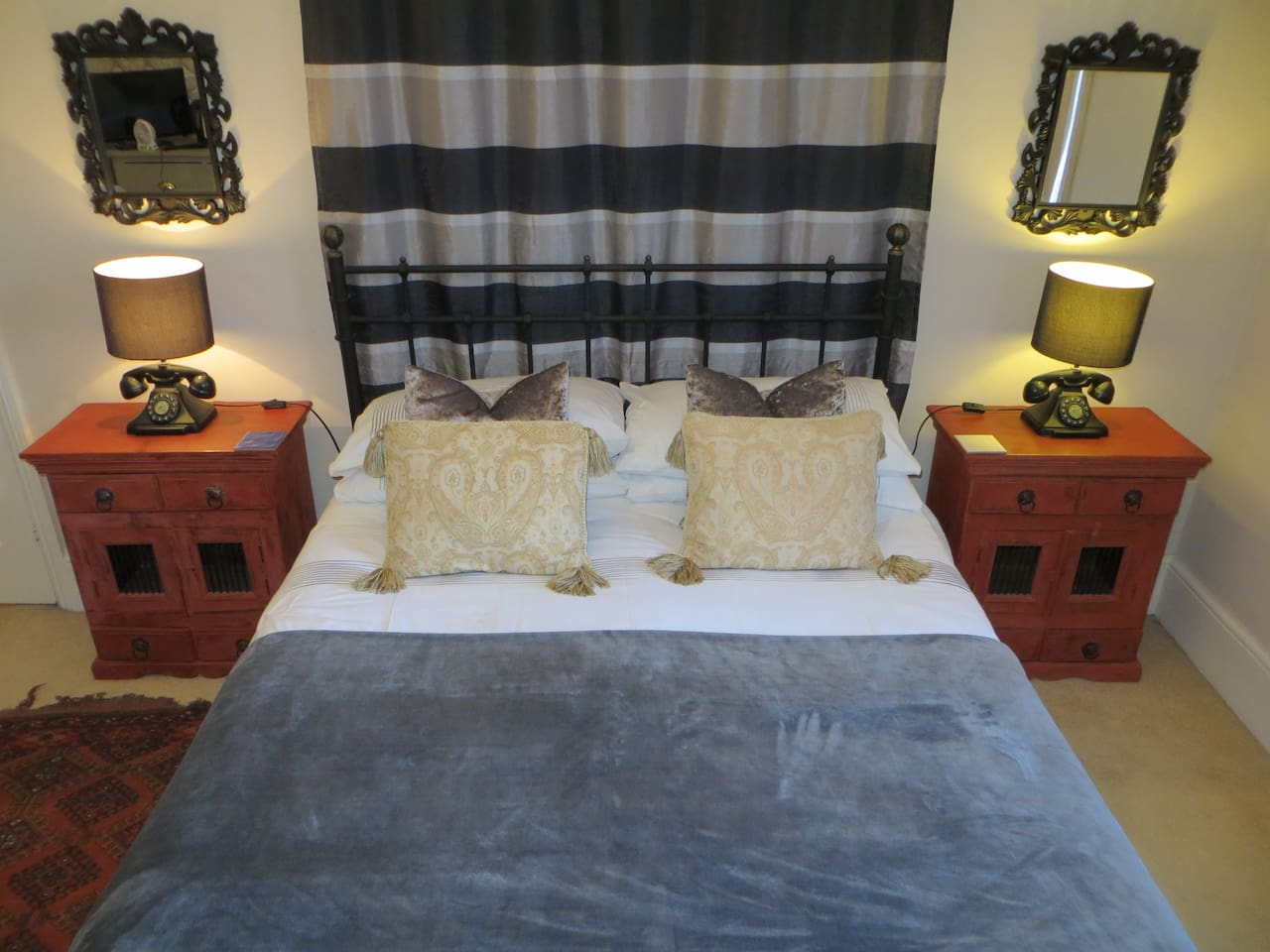 Sumptuous Double Bed with Egyptian Cotton Sheets.