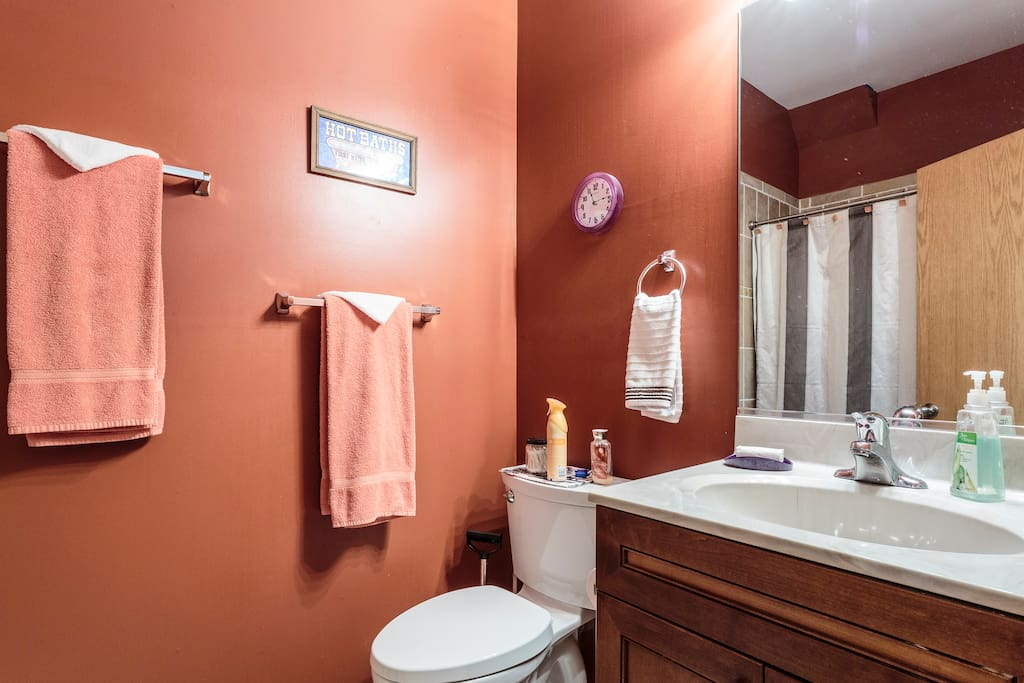 You have your own bathroom right across the hall. Towels and bath supplies included.
