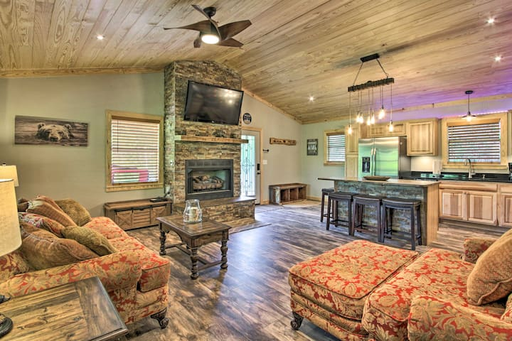 Watch the cable TV and warm up by the fire place at the vacation rental.