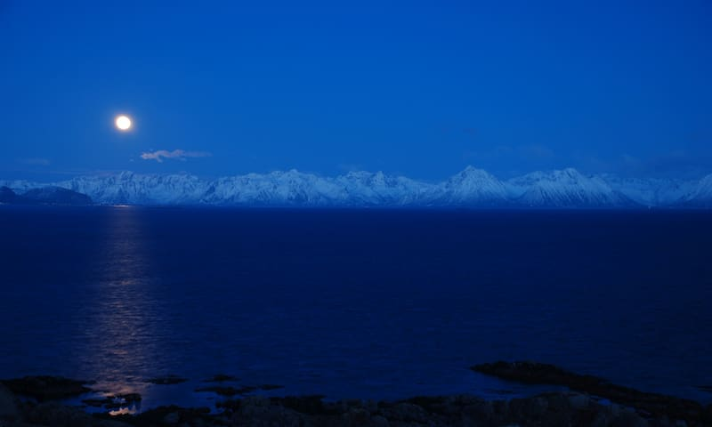 Winter view to the Lofoten mountains.