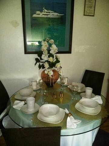 Your table is waiting for you to sit, rest, relax at the dinning table has 4 or 6 chairs