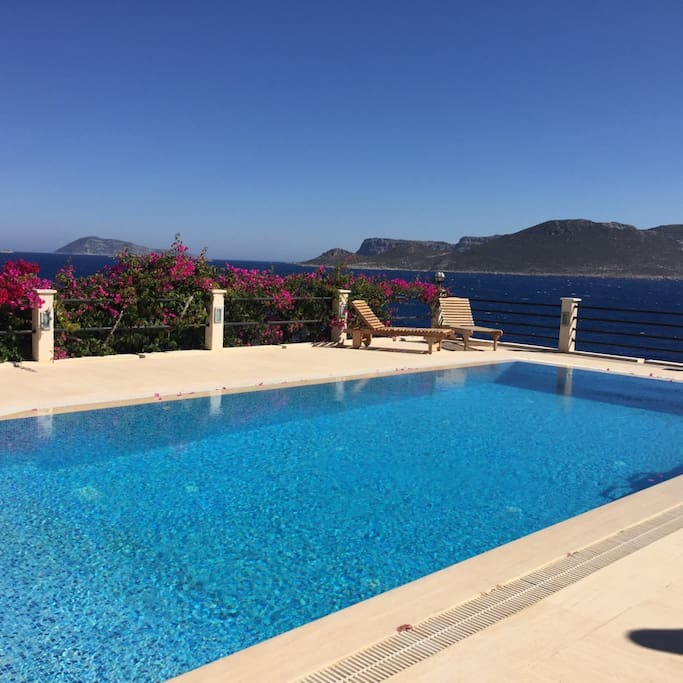 large pool over looking greek island meis