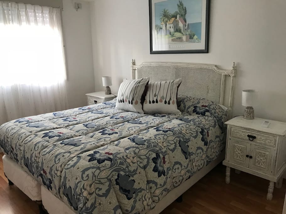 White and blue room, perfect for come rest.