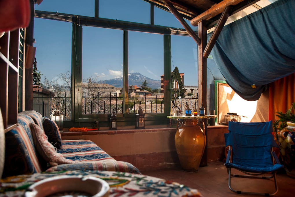 Etna view from indoor terrace.