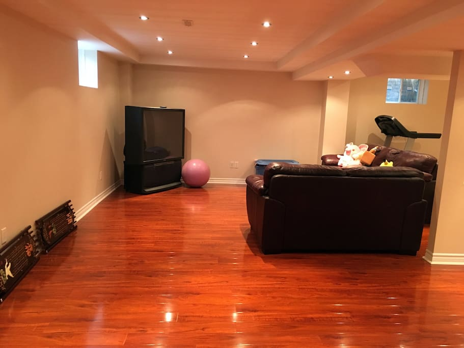 Fully-furnished basement living room with TV, Treadmill, large table