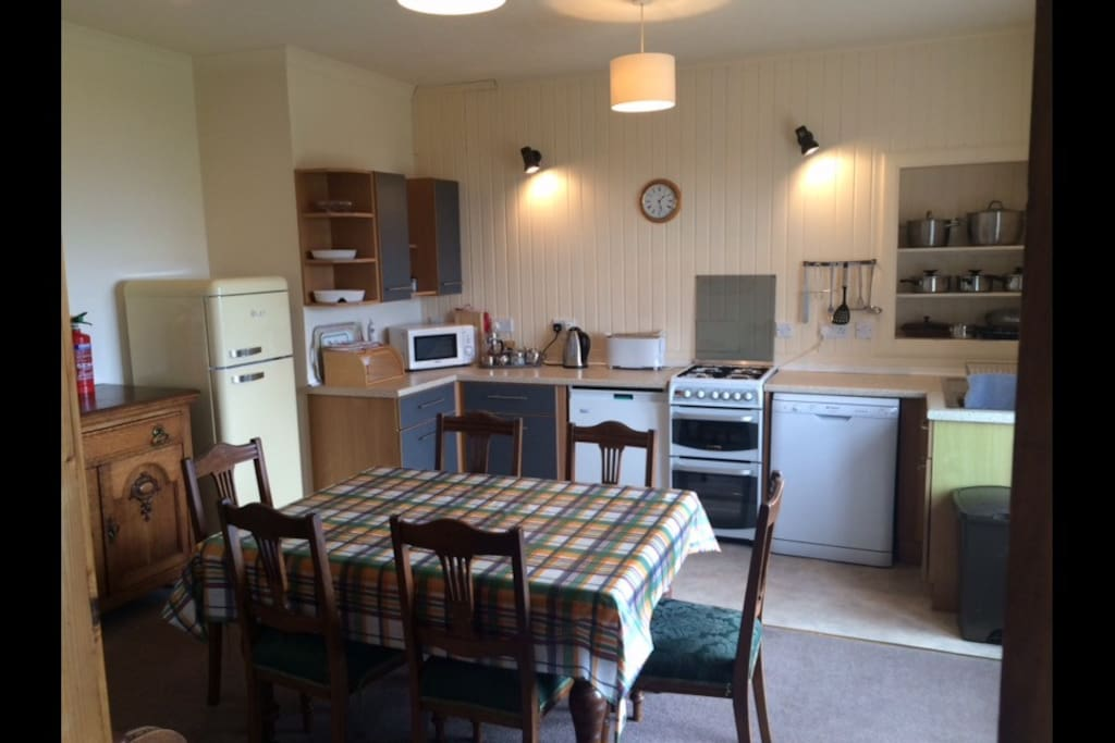 Large kitchen with views of pladda and Ailsa Craig