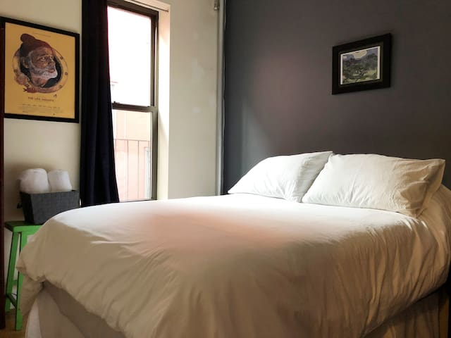 Welcome to your room.  We recently revamped the space with a new full size bed and fancy sheet sets, towels and more space.  Make yourself at home!