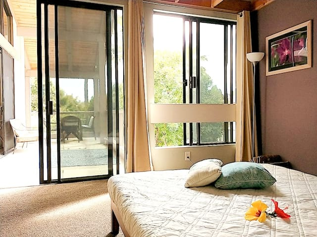 Queen size bed connected to terrace and a view of tropical green trees.