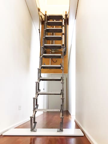 Electrical ladder can be lifted up and closed completely to keeps your room privately and securely.