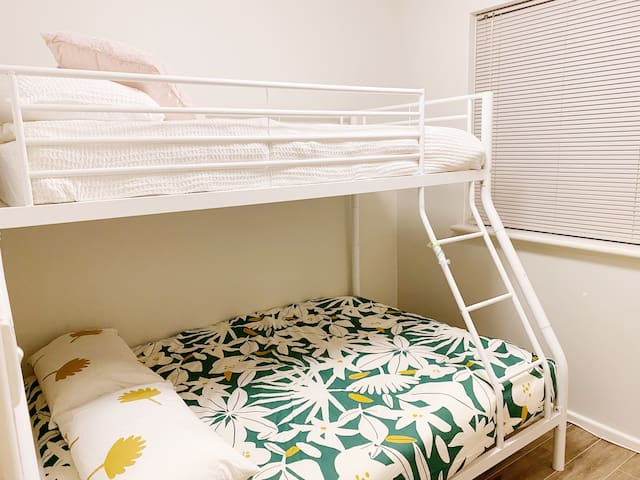 bedroom three which sleeps 3 people  lower bunker bed is double  upper bunker bed is single   super comfortable mattresses