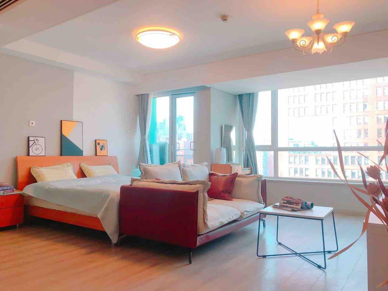 北京朝阳CBD国贸商圈高端公寓(华贸)现代简约时尚风