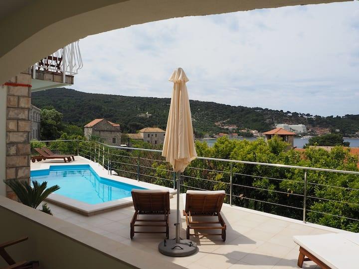 Mimosa - Pool, lounge and beautiful sea view