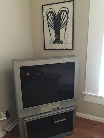 Large tv with cable.