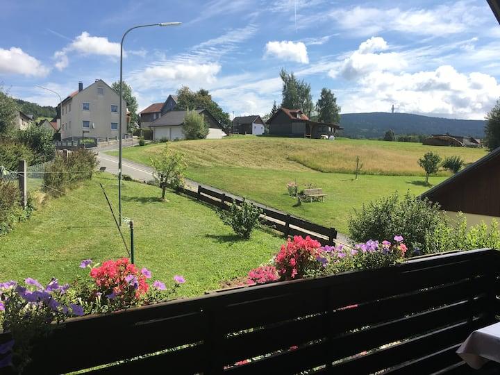 Ferienwohnung mit großem Balkon, im Grünen.