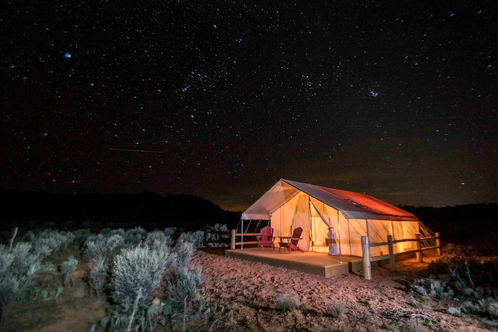 Each tent has a small solar setup, which will power lights and charge your devices.