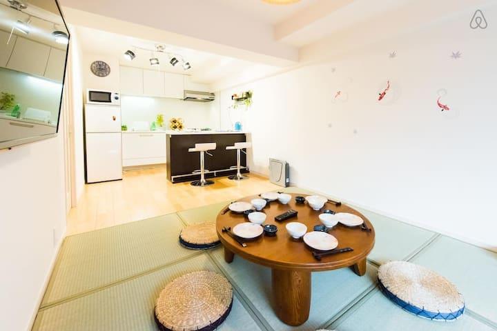 新房促銷!澀谷站3分鐘至近!溫馨舒適大房!傳統日式和西式風格完美融合!最多可住6人