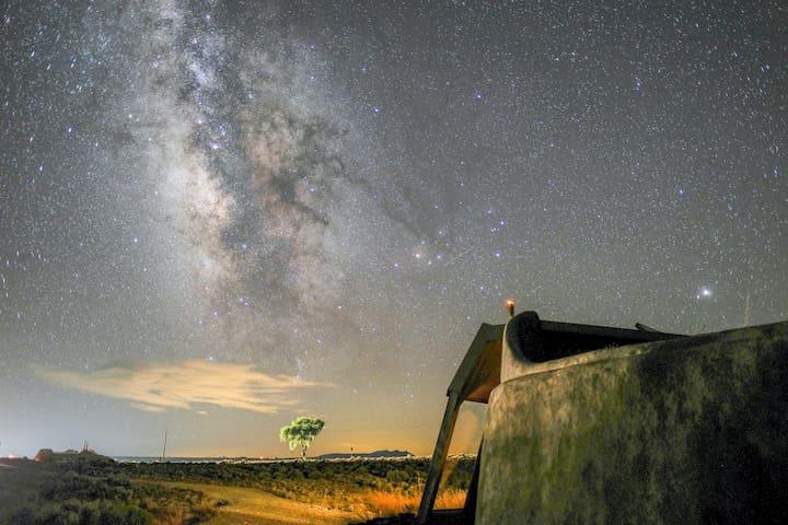 Earthship at night