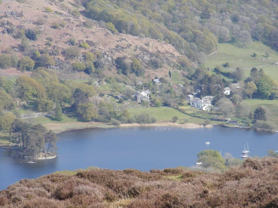 Looking across Coniston Water towards our hamlet