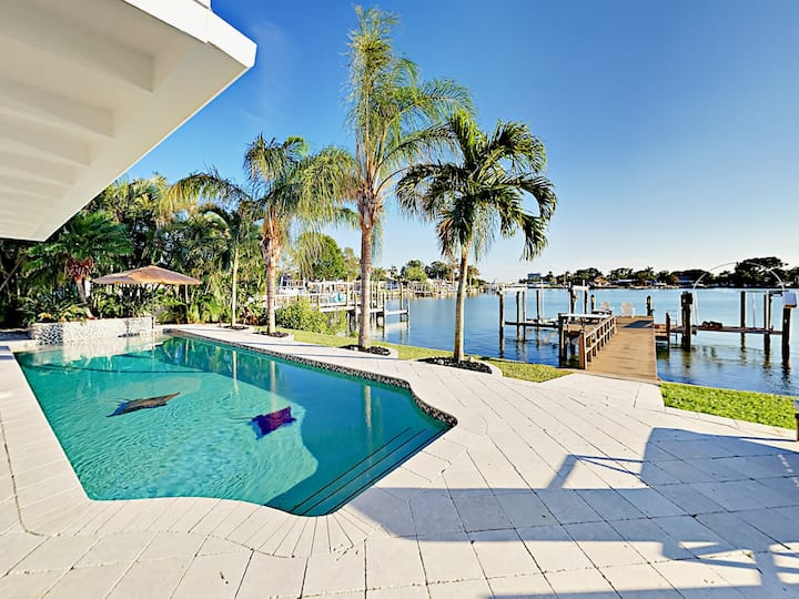 Waterfront Home with Private Pool, Patio & Dock