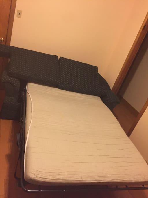 this is the sofa/bed :) i slept there many times watching netflix! By the way- there's Netflix in the room! :))