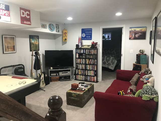 TV and Cable in the living room with vintage games