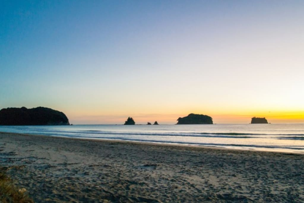200m from sunsets on Whangamata beach