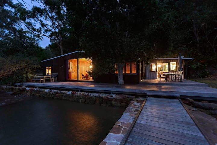 OXLEY BOATSHED . Hawkesbury River . ARRIVE BY BOAT
