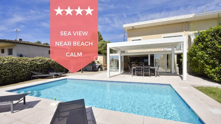 ☀️ Family house for 6 ☀️ Swimming pool and sea view in the heart of Antibes