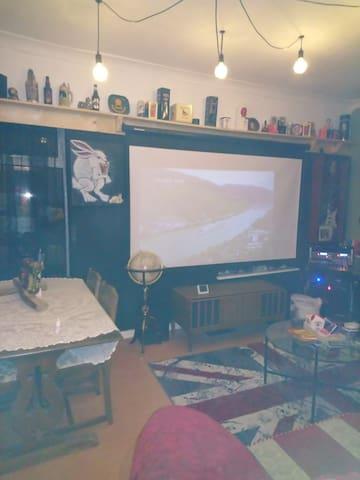 Lounge with cinema screen