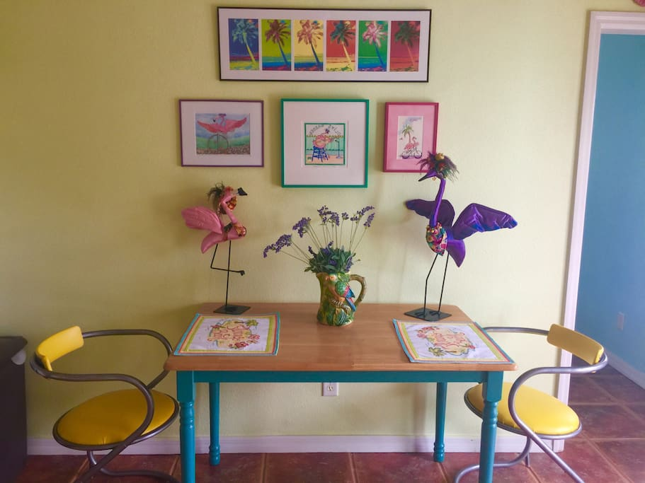 Dining area at Flamingo Beach. We LOVE flamingos! That's Flossie on the left and her BFF, Carmen Miranda on the right.
