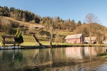 Homestead Tešnak is located next to a river Hotaveljščica. Behind is hill Slajka, where you can go for a lovely hike.