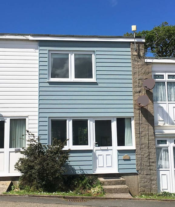 Exterior finished in  blue cladding