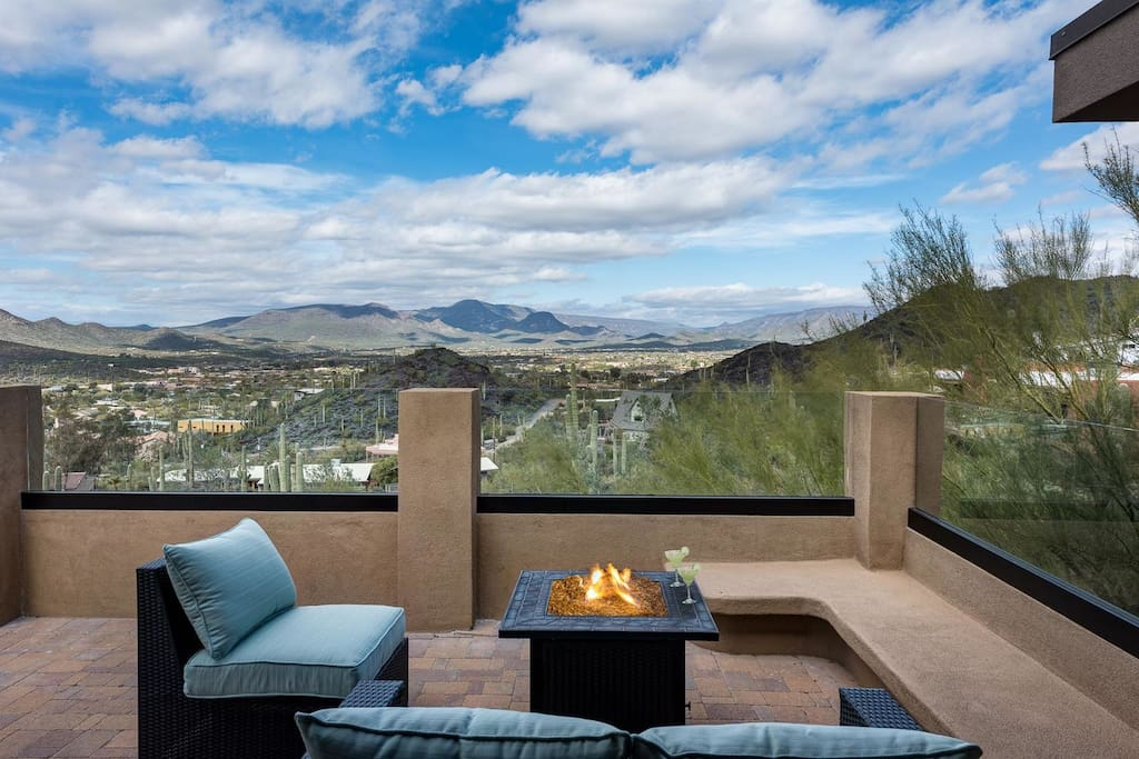 Large patio with great views