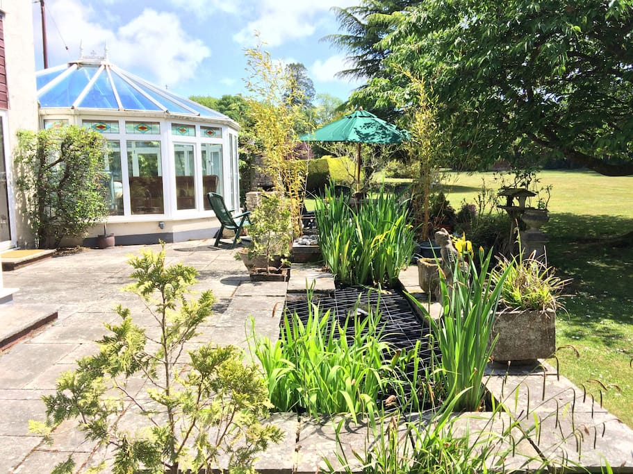 Patio, pond & conservatory