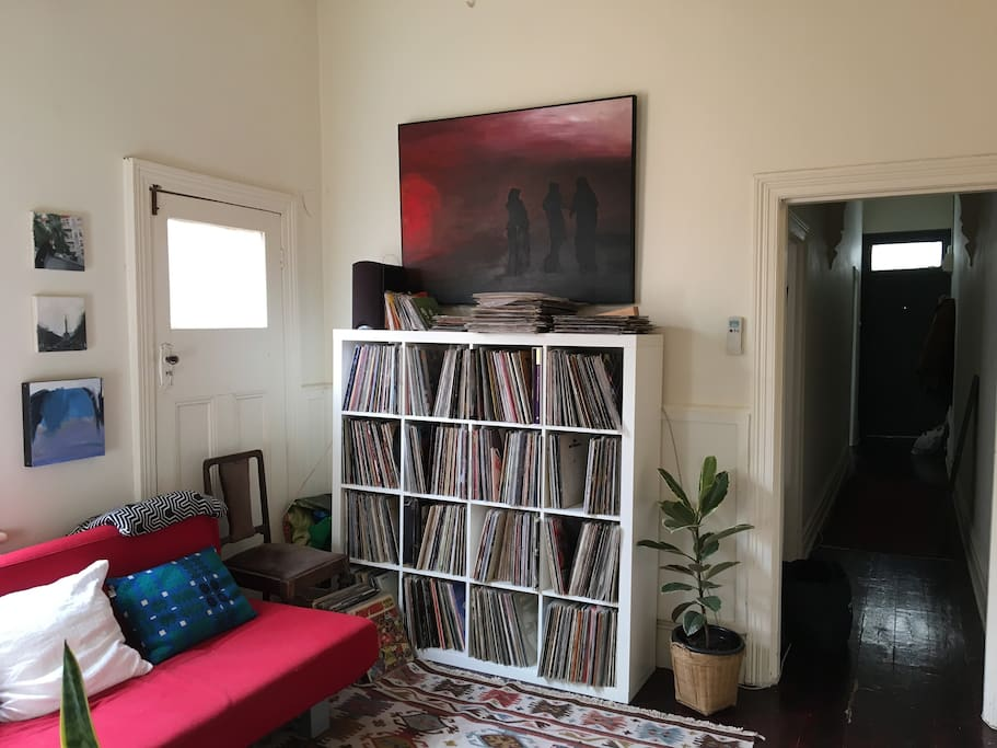 Lots of records and and a record player to play them. Also have amp to plug your own device in to