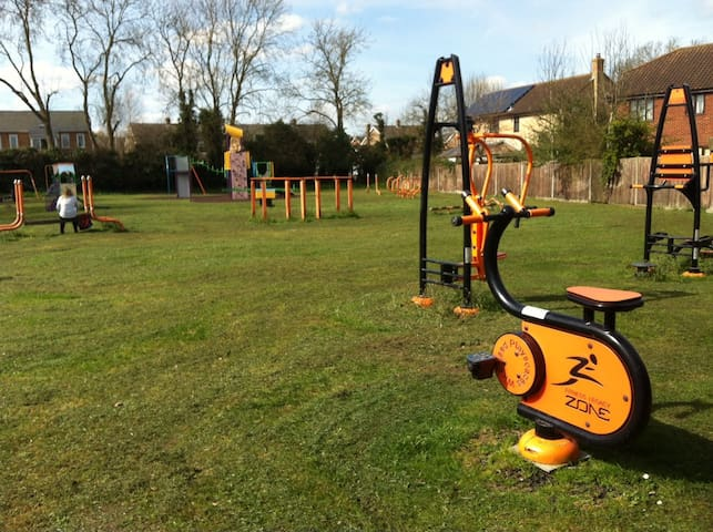 Exercise machines in play park