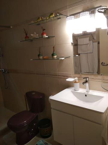 Bathroom vanity and shelves