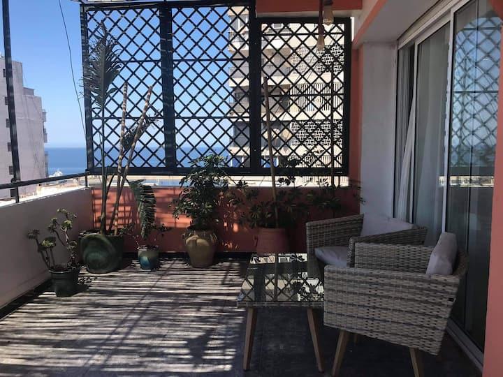 Grand appartement avec terrasse, front de mer