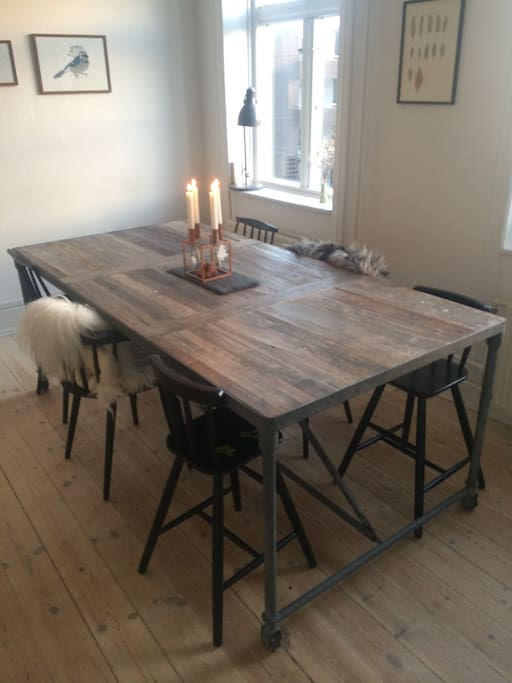 Large dining table with seating for 12 people