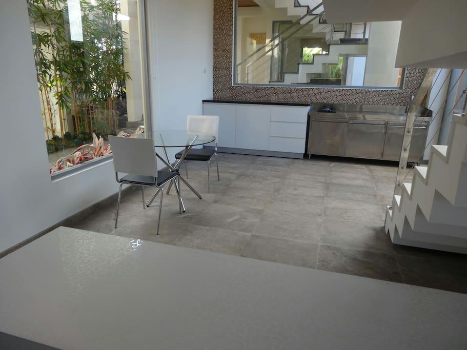 View towards kitchen area of apartment