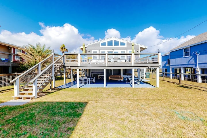 Dog-friendly home w/beach views, private hot tub, central A/C, and free WiFi